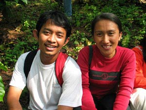 Two young ASB researchers, Sumberjaya region, Indonesia