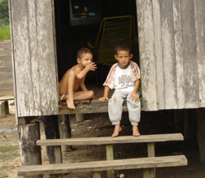 Children at home in Pedro Peixoto, Acre, Brazil