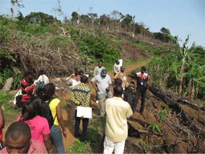 Field practicals during ASB Partnership training on Estimating Opportunity Costs for REDD+ in Cameroon