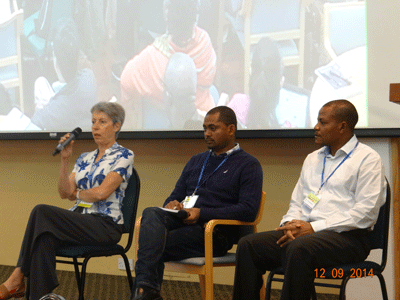 From left: Anne-Marie Izac, Lalisa Duguma, Dieudonne Allemagi at the ASB Partnership session during ICRAF science week