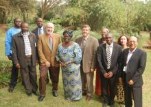 Group photo taken at the World Agroforestry Centre headquarters after a meeting with Professor Wangari Maathai. During the visit, Prof Maathai met senior officials from the Centre, including Director-General Dr. Dennis